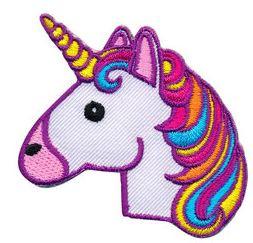Opstrijkbare applicatie unicorn hoorn geel