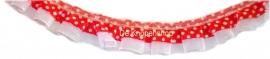 Ruche polka dot organza rood & wit