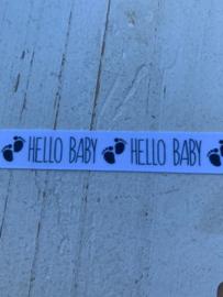 Sierband tekst Hello baby   1.5 cm