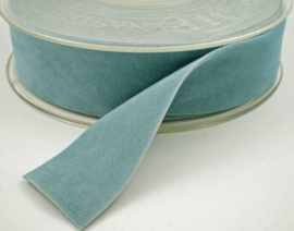 Velvet/fluweel band licht blauw dubbelzijdig  2.5cm