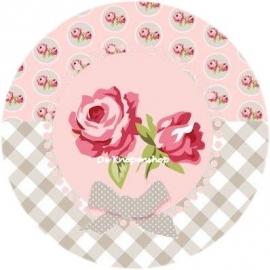 Flatback roze roosjes & grijs ruitje(k350)