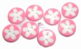 Kn569 Bloem roze & wit