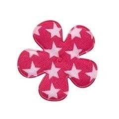 Bloem fuchsia met witte sterren 3,5 cm