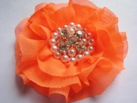 Luxe bloem met strass en parels neon oranje