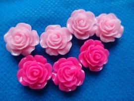 Flatback roosje fuchsia of roze kies de kleur