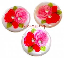 KN557 Rozen knoop rood & fuchsia