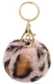 Tas/Sleutelhanger fluffy bol tijger roze