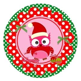 Flatback kerst uiltje polkadot rood op groene polka dot (k148)