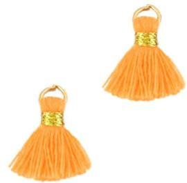 Kwastje Ibiza/bohemian  style 1.5cm Gold-oranje
