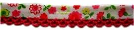 Biasband bloem fuchsia & fuchsia kantje