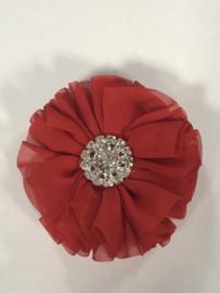 Luxe bloem met strass  rood