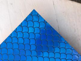 Zeemeermin staart patroon leer blauw/zwart