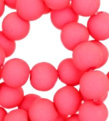 Kralen acryl mat 10 mm coral/pink