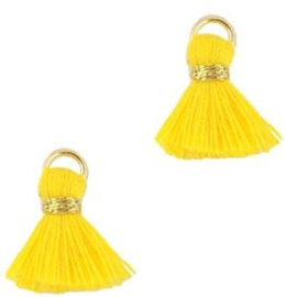 Kwastje Ibiza/bohemian  style 1.5cm Gold-geel