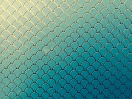 Zeemeermin staart patroon leer blauw/goud