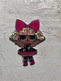 L.O.L flatback glitter fel roze strik