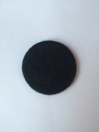 Wol vilten rondjes  zwart  2.5cm pst