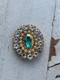 Luxe rhinestone diamant meekleurend parels gold