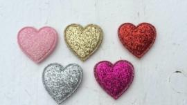 Hartje glitter 2cm kies jou kleur.