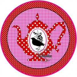 Flatback  Thee pot polkadot rood & vogel(k889)