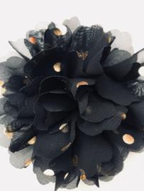 Bloemen chiffon 10 cm zwart polkadot goud