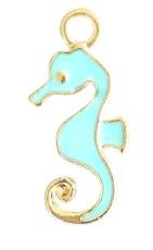 Bedels zeepaardje Gold licht blauw