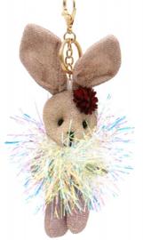 Tas/Sleutelhanger Glitter Bunny gold