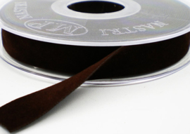 Velvet/fluweel band donker bruin dubbelzijdig 1.5cm