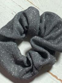 Scrunchie Haarwokkel grijs glitter