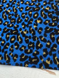 Glitter leer velvet tijger/panter royal blue/kobalt 20x30cm