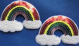 Opstrijk applicatie regenboog pailletten/glitter
