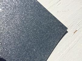 Glitter Leer Zilver 20x30 cm
