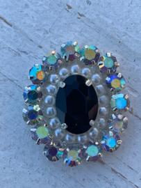 Luxe rhinestone diamant parels zwart