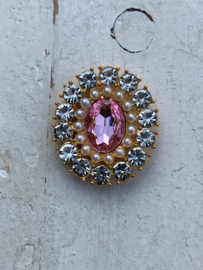 Luxe rhinestone diamant roze parels gold