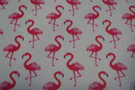 Flamingo leer off white/hot pink