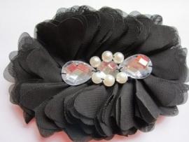 Luxe grote bloem met  parels en strass zwart
