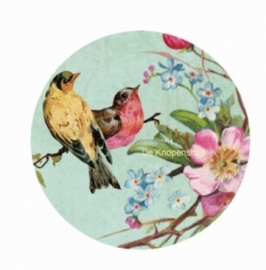 Flatback Vintage 2 vogels (links) & bloemen (k485)