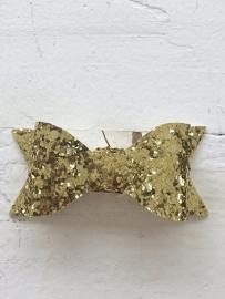 Strik  leer/glitter 7 cm goud