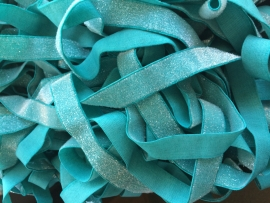 Elastisch haarband mint/teal glitter 1.7cm