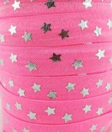Elastisch haarband roze met zilver ster