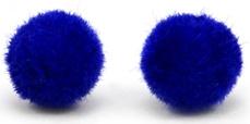 Pompom/velvet kralen royal blue