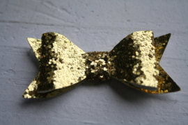 Glitter strik goud 7cm