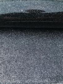 Glitter Leer Zilver/Zwart dubbelzijdig  20x30 cm