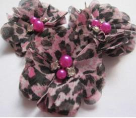 Bloem chiffon met parels & strass tijger/panter roze/zwart
