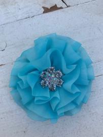 Luxe bloem met bloem strass  blauw