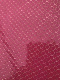 Zeemeermin staart patroon leer hot pink/goud