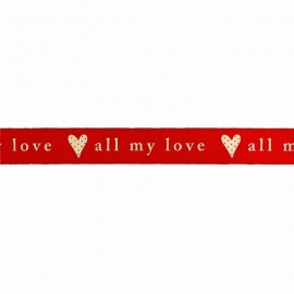 Sierband hartje all my love rood