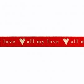 Sierband hartje all my love rood