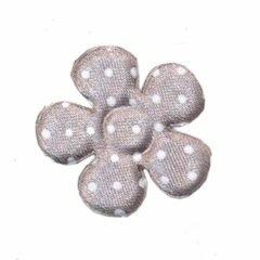 A0351 Polkadot bloemen zilver 3,5 cm