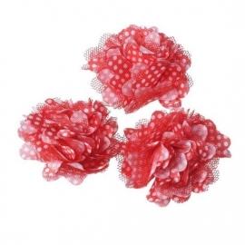Stoffen bloem met schijfje 5cm *rood & polkadot* pst